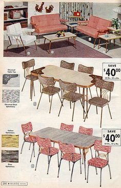 Fantastic 1950s dinettes. I have similar copper-brown chairs and I totally have those fighting cocks on the wall!
