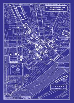 1949 Vintage Map of Downtown Pittsburgh 20x30 Blueprint Map Print Poster. $29.95, via Etsy.