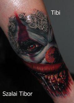 Cool idea of spooky clown tattoo on arm by Szalai Tibor