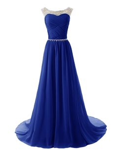 Dressystar Straps Bridesmaid Dresses Beaded Pleated Chiffon Gowns Size 14 Royal Blue