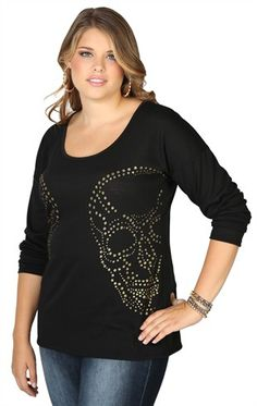 plus size long sleeve tunic with mirrored gold glitter skulls