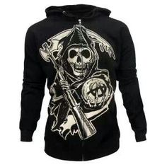 Buy Sons of Anarchy Grim Reaper Hoodie at the FX Shop! Features the Reaper graphic featured on the front and 'SOA' on the back. Hoodie Allen, Sons Of Anarchy Tara, Sons Of Anarchy Tattoos, Punk Quotes, Anarchy Quotes, Anarchy Symbol, Hooded Sweatshirts, Hoodies, Grim Reaper