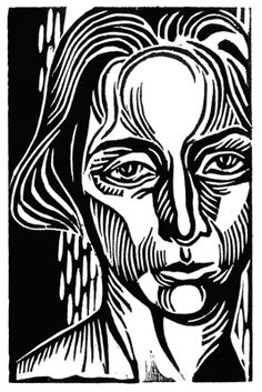 Her self portrait, woodcut print