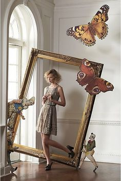 oversize picture frame in display. Love the scale of the butterflies.