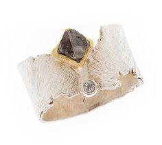 GRIGIO RING by Davide Bigazzi  |  sterling silver, 18 karat gold, raw diamond, white diamond
