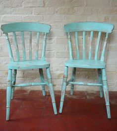 Love the turqoise color - A pair of ready-worn, shabby chic kitchen chairs. £85