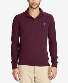 Polo Ralph Lauren Men's Big & Tall Classic-Fit Weathered Long-Sleeve Polo - Red 3XB
