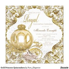 Fairytale princess fancy gold sparkle royal princess Quinceañera invitation with beautiful gold royal carriage and faux glitter sparkles background with elegant swirls.