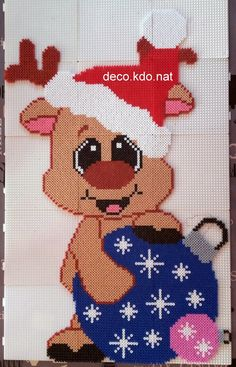 Easy Perler Bead Patterns, Diy Perler Beads, Perler Bead Art, Pearler Beads, Fuse Beads, Hama Disney, Christmas Perler Beads, Christmas Afghan, Art Perle