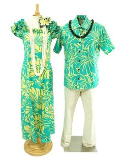 Anuenue [Exclusive] Men's Hawaiian Shirt [Lithographic Hibiscus/Aqua&Yellow]
