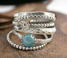 Sterling Silver Stacking Rings with Flower Bud and Turquoise Cabochon
