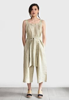 539cef671b9 Comfy and lightweight linen jumpsuit is perfect for any occasion. Made from  linen with side