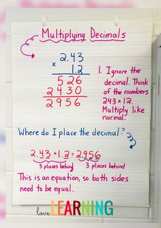 This multiplying decimals Anchor Chart is an easy way to teach upper elementary students. #math #decimals #multiplication