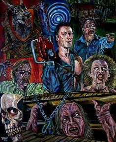 Evil Dead Evil Dead 1981, Ash Evil Dead, Horror Icons, Horror Art, Evil Dead Series, Horror Themes, Classic Horror Movies, Halloween Horror, Drawings