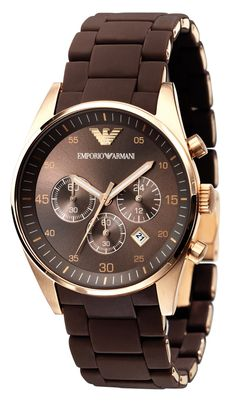 Emporio Armani Sportivo Rose-Gold Brown Rubber Strap Watch for him.