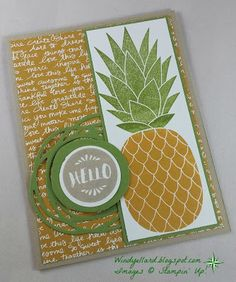 Windy's Wonderful Creations: PPA304 Hello Again Pineapple!, Stampin' Up!, Pineapple, Pop Of Paradise, Swirly Scribbles dies