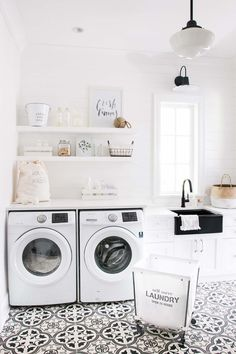 Best 20 Laundry Room Makeovers - Organization and Home Decor Laundry room decor Small laundry room organization Laundry closet ideas Laundry room storage Stackable washer dryer laundry room Small laundry room makeover A Budget Sink Load Clothes Laundry Room Tile, White Laundry Rooms, Laundry Room Organization, Laundry Room Design, Laundry Decor, Basement Laundry, White Rooms, Laundry Closet, Laundry Sinks