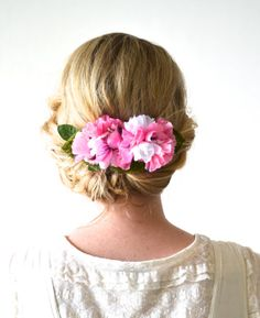 Pink flower wedding hair accessory Hairpiece Bridal by hazelfaire, $40.00