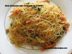 Rice Noodles and Vegetables Stir Fry