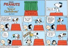 This image shows a graphic narrative in a form of a comic strip. The comic shows a short story between children and a dog named Snoopy. This is seen by each frame having different sequential stories.