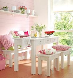 An example of Shabby Chic in a casual dining setting. A nice place to share tea with friends. The colour of the pink wall is diluted with the natural colour of the timber floorboards. Cocina Shabby Chic, Shabby Chic Kitchen, Shabby Chic Decor, Kitchen Decor, Kitchen Nook, Green Kitchen, Kitchen Furniture, Modern Kitchen Design, Interior Design Kitchen