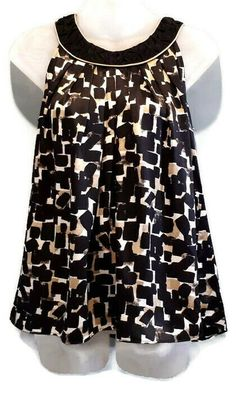 White House Black Market Silk Halter Top Womens XS Black Gold Pleated Geometric #WhiteHouseBlackMarket #Basic Taylor White, Printed Blouse, Black House, Silk, Black Gold, Tops, Blouses, Women, Shirts