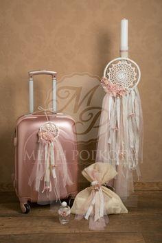 Σετ βάπτισης ρομαντικό ονειροπαγίδα για κορίτσι με χειροποίητα διακοσμητικά υπέροχη μεταλλιζέ βαλίτσα και σετ λαδιού