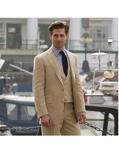 Men's single breasted 3 piece khaki suit.