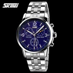 2016 SKMEI men men's quartz analog fashion watches military sports watches full steel band watch luminous hands 30m waterproof