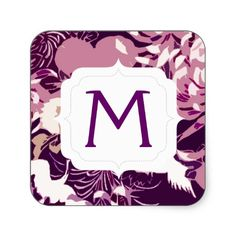 #Monogram #Vintage Pink purple flowers and birds Stickers by #PLdesign #vintagefloral #vintageflowers