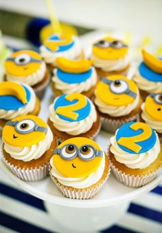 """Modern & Bright """"One In A Minion"""" Themed Birthday Party // Hostess with the Mostess® Minions Birthday Theme, Minion Theme, Birthday Cupcakes, Birthday Party Themes, Birthday Ideas, Cupcakes Dos Minions, Minion Cupcake Toppers, Bolo Minion, Despicable Me Party"""