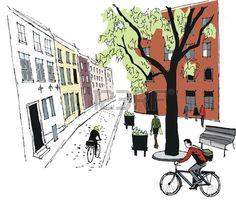 Vector illustration of Stockholm street scene