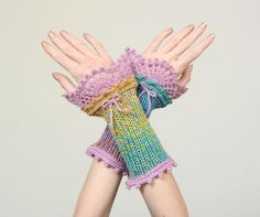 Pastel Multicolor Knitted Wrist Warmers With Lilac Crochet Lace Decoration