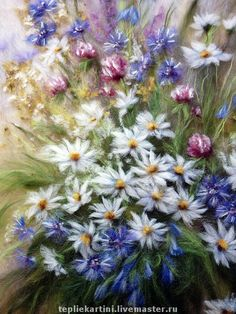 """Купить Картина из шерсти """"Полевой букет"""" - полевой букет, полевые цветы, васильки, ромашки, клевер"""