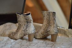 Leather High Heel Boots, Leather Booties, Heeled Boots, Bootie Boots, Snake Skin Pattern, Black High Heels, Winter Shoes, Sexy Heels, Everyday Look