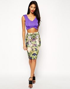 ASOS Pencil Skirt In Mirror Floral Print