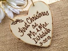 first christmas married ornament rustic wood burning