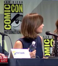 Jenna Coleman Bob Haircut at San Diego Comic Con 2015 on the Doctor Who panel