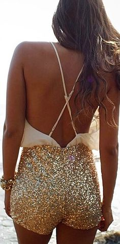 sparkly shorts with an open back top for a night out