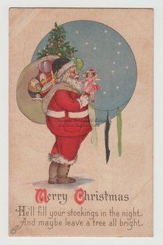 CHRISTMAS ~ Art Deco SANTA with Toys, Star Filled Sky ~ UN WoB /B627 | eBay