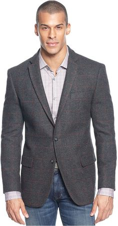 $139, Charcoal Plaid Blazer: Sean John Jacket Plaid Wool Blazer With Elbow Patches. Sold by Macy's. Click for more info: http://lookastic.com/men/shop_items/1752/redirect