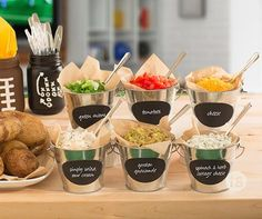 Score with everyone's tastebuds with baked potato bar toppings such as spinach, herb, guacamole and peach sauce.