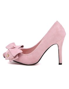 b92c9bddf18 Heels I Love! Love Pink! Modern Pink Stiletto Heel with Crystal Suede Bow!