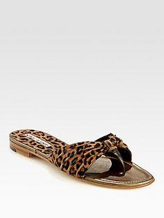 Manolo Blahnik Berna Leopard-Print Suede Thong Sandals at Saks Fifth Avenue