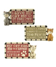 'I Gave My Cat My Heart' Plaques Set