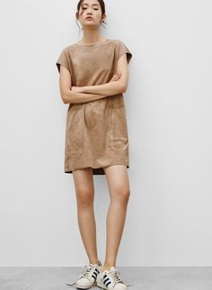WILFRED NORI DRESS - <p>Vegan suede, in a silhouette that makes getting dressed easy</p>