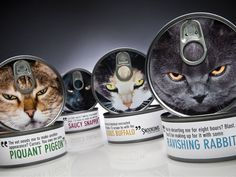 "Fabulous packaging with clever product names. Do you think the target market is guilty owners? The packaging copy indicates how indignant the cats are at whatever the owner is doing. Tying it together with those demanding faces practically screams, ""Buy me!"" Smart campaign."