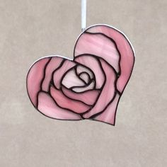 Stained Glass Pink Rose Heart Valentine Suncatcher/Ornament by FoxStainedGlass on Etsy