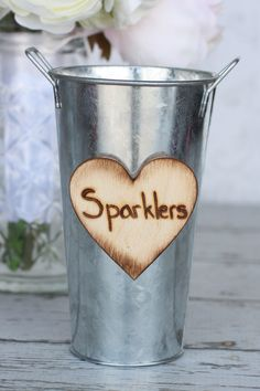 Rustic Wedding Decor Sparklers Shabby Chic Basket Pail. $19.99, via Etsy.