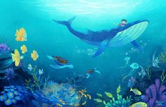 Blue Ocean-Artwork for personal book project by baoluuart Underwater Tattoo, Underwater Flowers, Underwater Wallpaper, Ocean Underwater, Underwater Painting, Underwater Pictures, Ocean Wallpaper, Underwater Quotes, Underwater Crafts